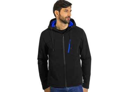 Duo-color hooded softshell jacket