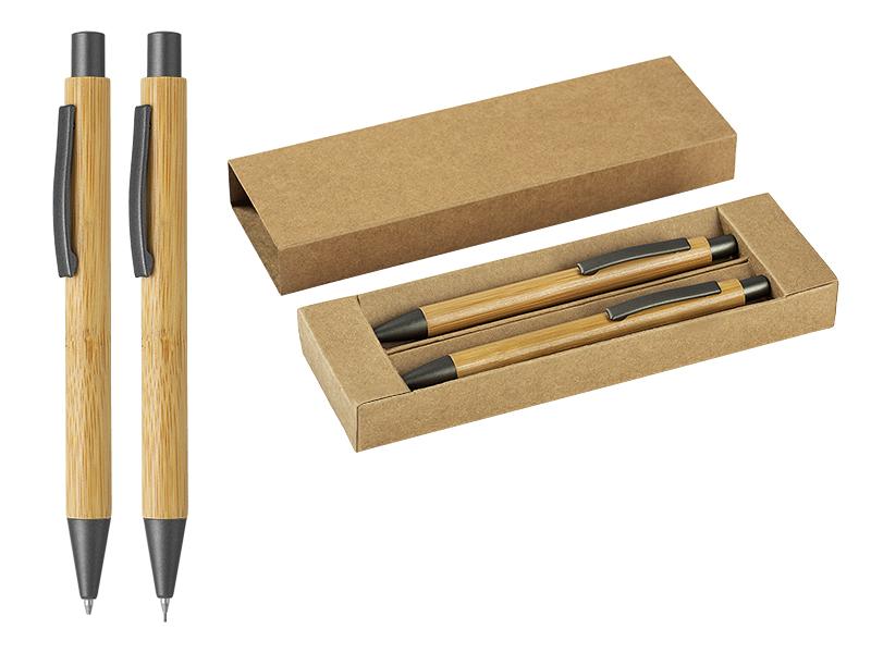Kugelschreiber und Minenbleistift aus Holz im Set